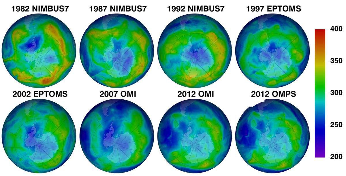 Entwicklung der Ozonschicht von 1982 bis 2012 Quelle: NASA/NOAA