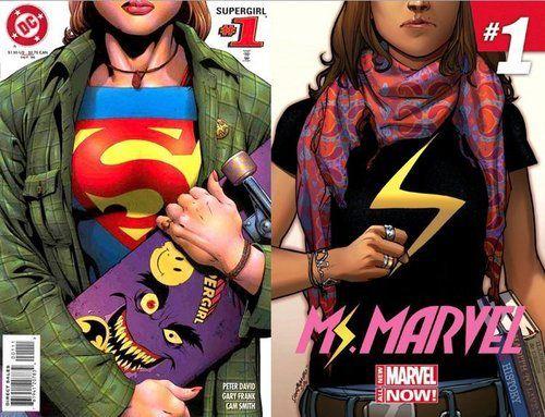 Couverture du numéro 1 de Ms. Marvel, ingénieusement inspirée d'une ancienne couverture de Supergirl