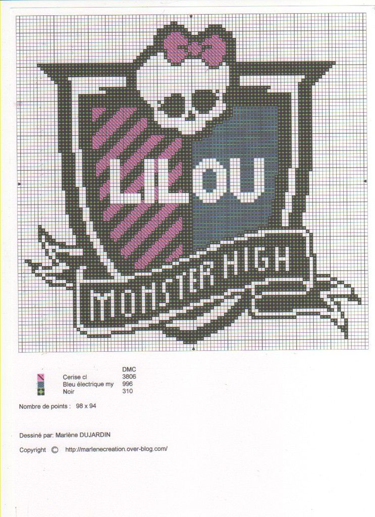 Grille Monster high pour coussin ou cadre