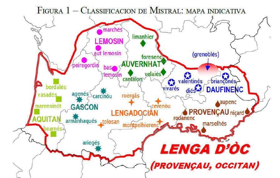Carte des langues par Frédéric Mistral