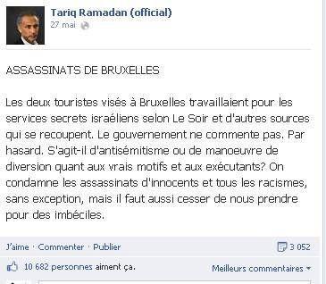 Quand l'infâme complotiste Tariq Ramadan divague sur Facebook à propos de l'affaire Mehdi Nemmouche