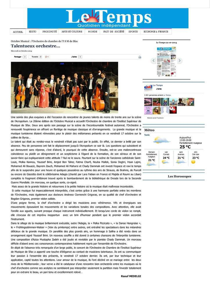 "Le Temps : ""Talentueux Orchestre..."" art. 22 Oct. 2014"