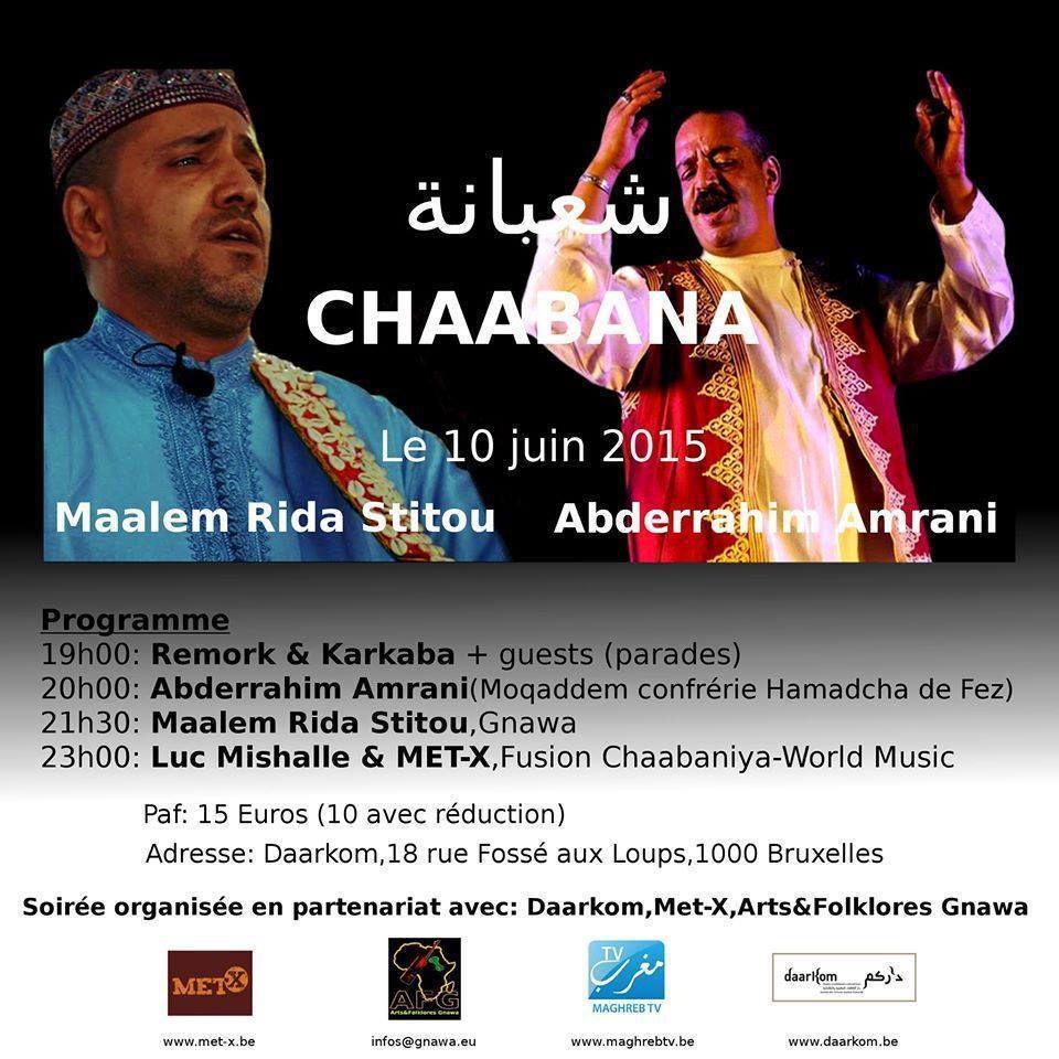 Avec pour la partie gnawa, le Maalem Rida Stitou et Mohcin Arafa pour la partie issawa