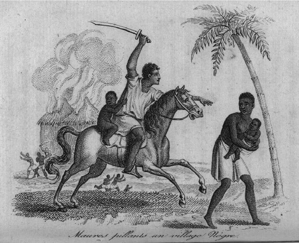 « Maures pillant[s] un village nègre » (gravure de 1814)