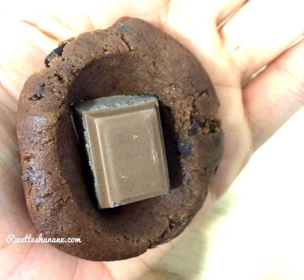 Cookies au chocolat coeur praliné