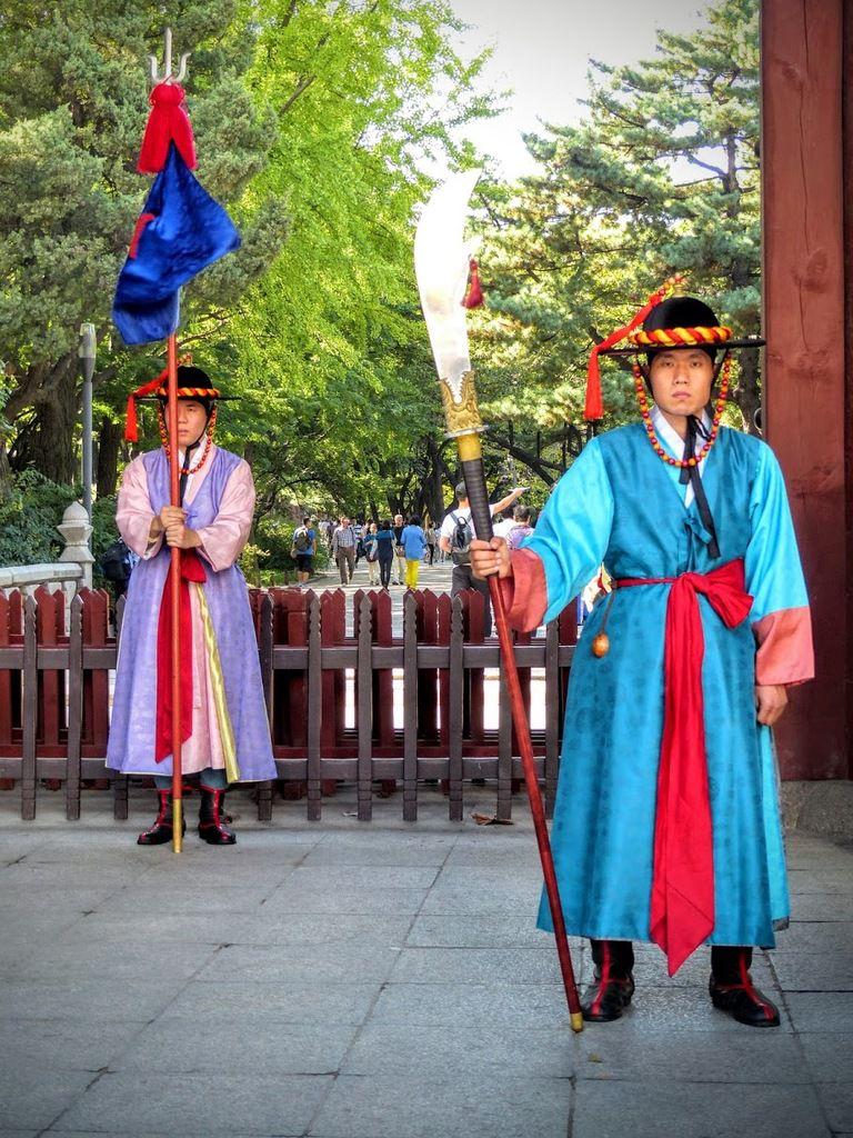 relève de la garde dans un palais de Séoul