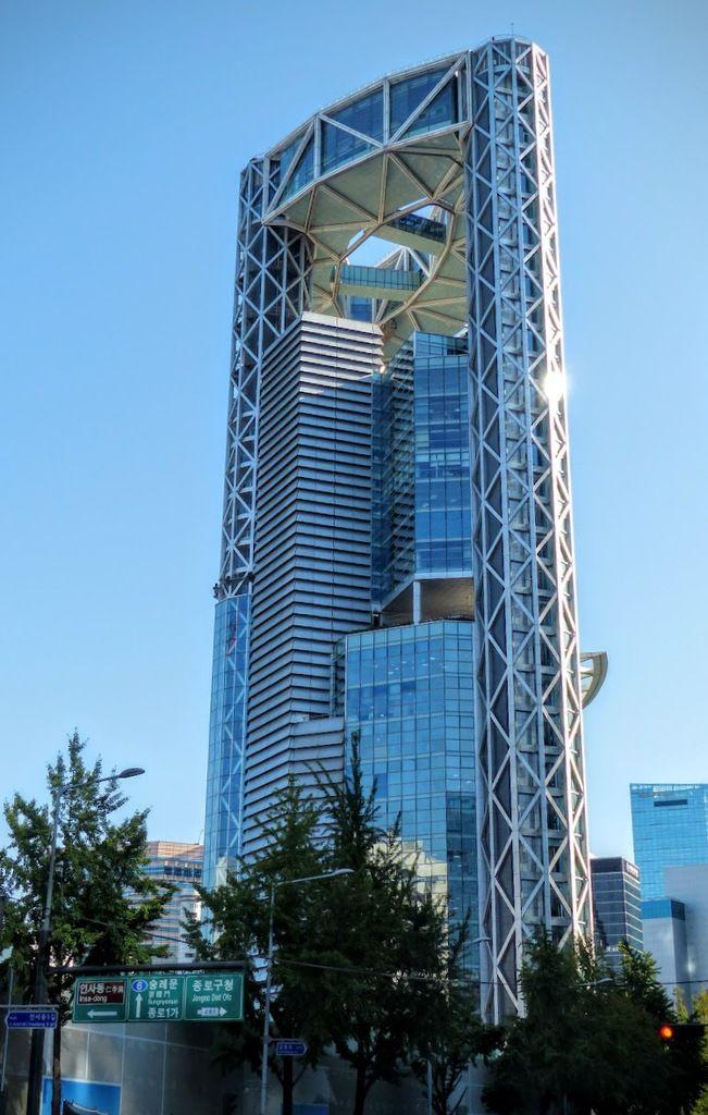 des bâtiments très modernes dans le centre de Séoul