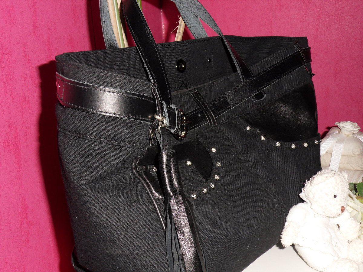 Sac cabas noir et strass toile et cuir façon jeans
