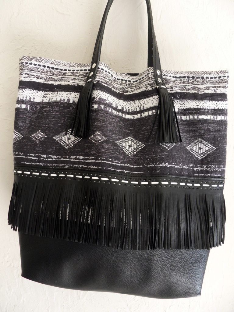 Shopping bag ethnic noir et beige