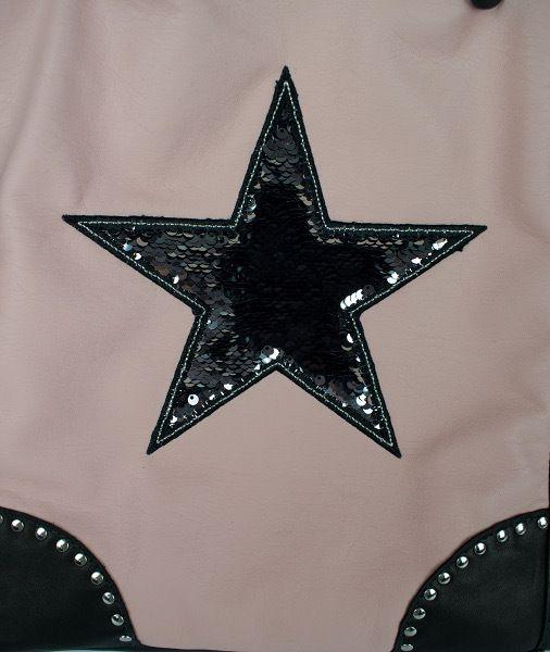 SAC CABAS rose et noir étoile paillettes