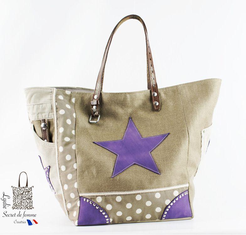 SAC CABAS &quot&#x3B; étoiles et coins en cuir violet&quot&#x3B;