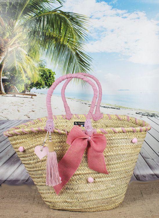 PANIER PLAGE décoré pompons rose