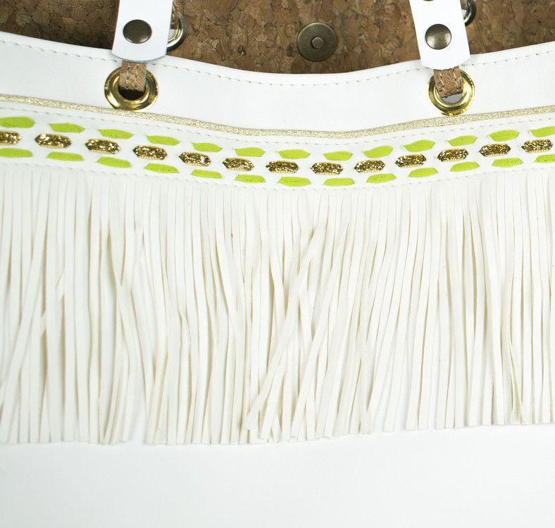 """sac cabas à franges blanches """" St Tropez """""""
