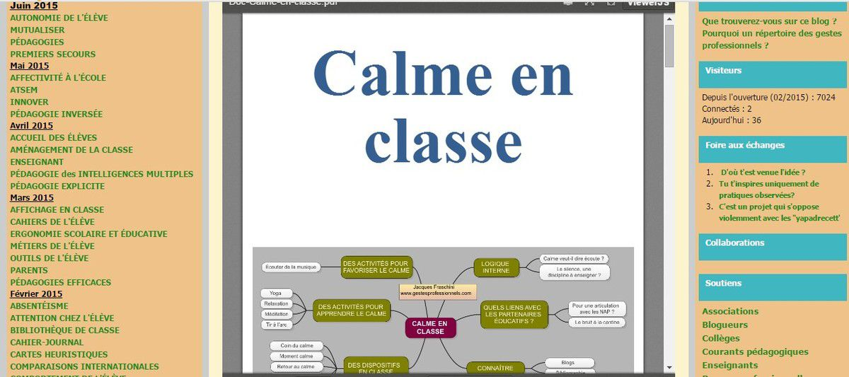 Le calme en classe chez Gestes professionnels