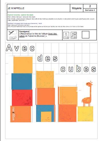 Exercice Avec des cubes MS chez Gwen