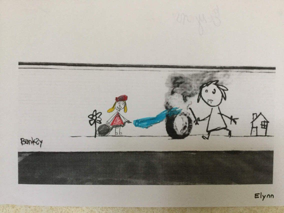 Panorama des dessins de Bansky en GS-CP chez Sophie BA