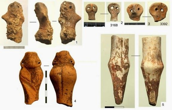 Les figurines aux formes humaines. Credit: courtesy Nataliya Burdo and Mykhailo Videiko/Institute of Archaeology NAS of Ukraine, Kyiv.