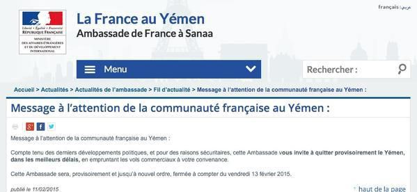 Message de la France aux ressortissants