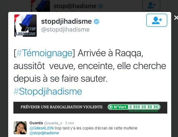 #StopDjihadisme: Le compte officiel du gouvernement supprime un tweet embarrassan