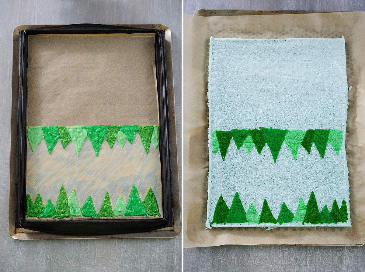 Bûche de Noël, Forêt sous la neige
