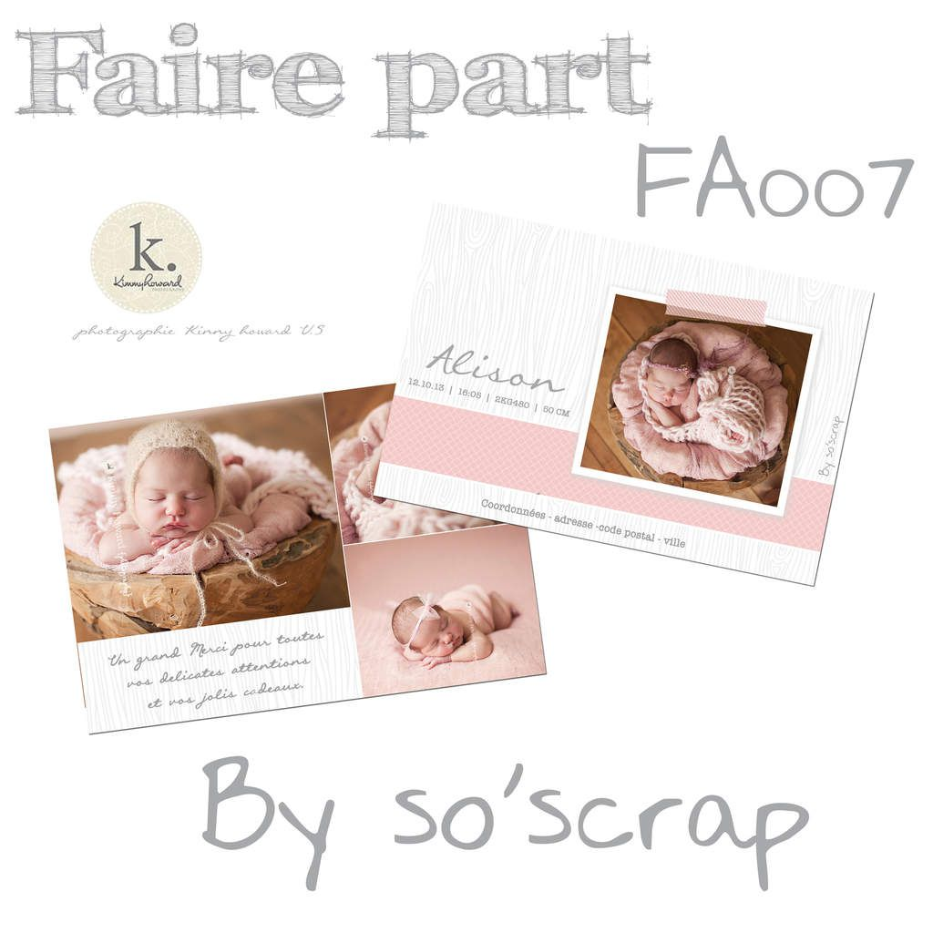 faire part naissance, 10x15cm recto/verso, création sur mesure, originale et unique, décor texture bois grise multi photos, 1 recto et 3 sur le verso scrapbooking digital