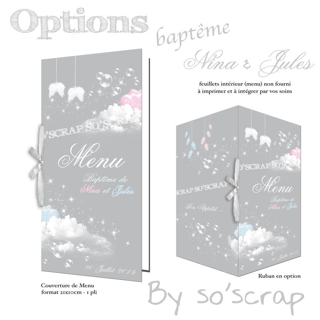 Le faire part de baptême de Nina et Jules, des jumeaux et couverture de menu assortie