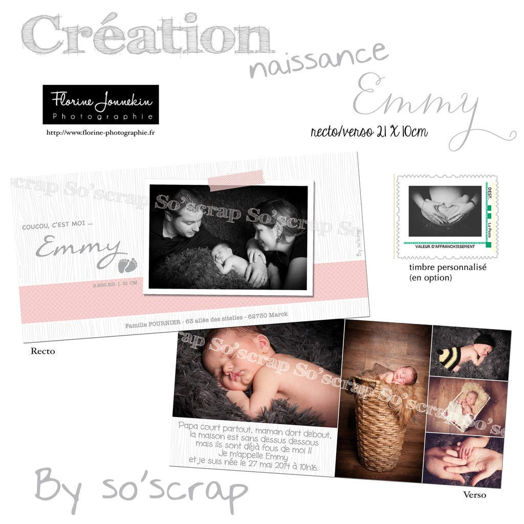 Faire part, création naissance sur mesure, multi photos, photographie Florine Jonnekin, format recto/verso 21x10cm, option timbre photo, scrapbooking digital