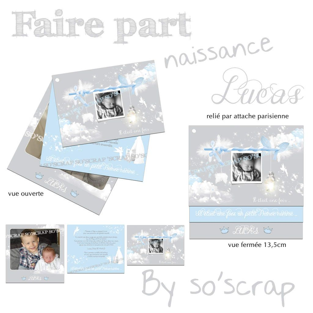 Häufig Le Blog d'EFDC by So'scrap - Le faire part de naissance du petit  QM05