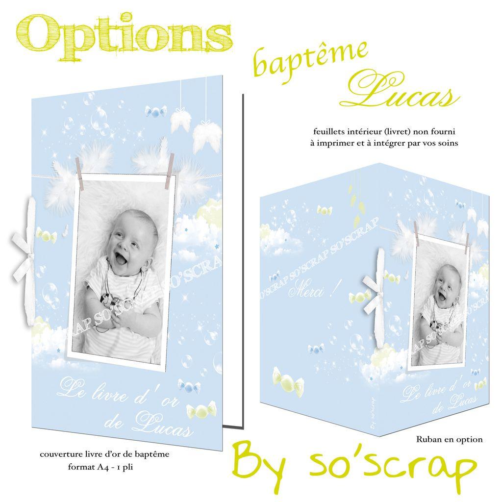 couverture livre de baptême personnalisé, A4 1 pli, bleu ciel et vert, ailes d'ange, plumes, bulles, scrapbooking digital