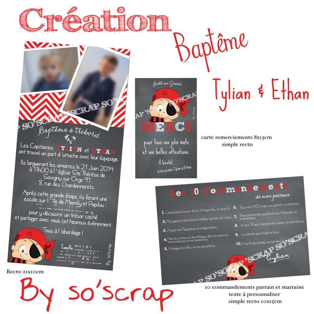 Souvent Le Blog d'EFDC by So'scrap - Le faire part de baptême de Tylian et  VB79