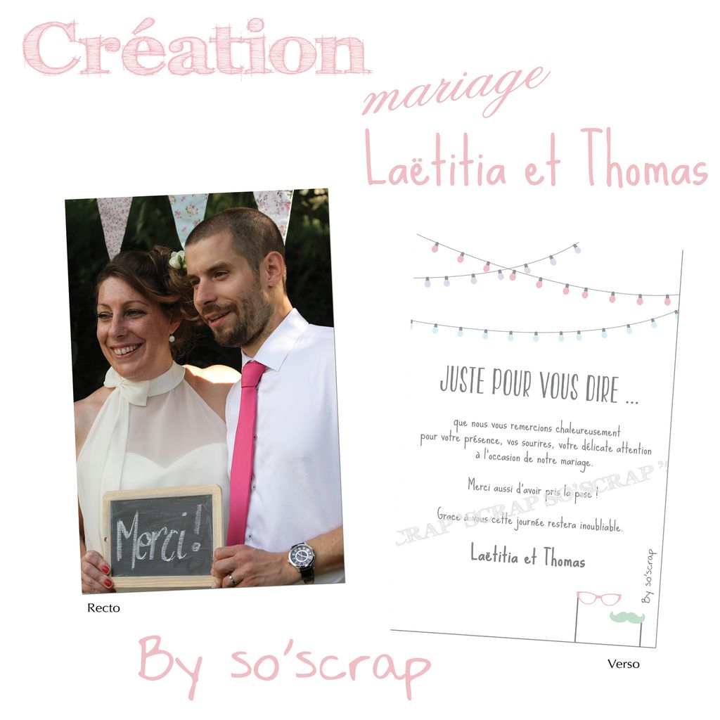 le blog d 39 efdc by so 39 scrap carte de remerciements de mariage de la titia et thomas. Black Bedroom Furniture Sets. Home Design Ideas