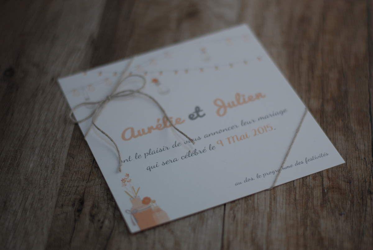 Faire part de mariage d'Aurélie et Julien ... une petite touche d'abricot cette fois-ci !