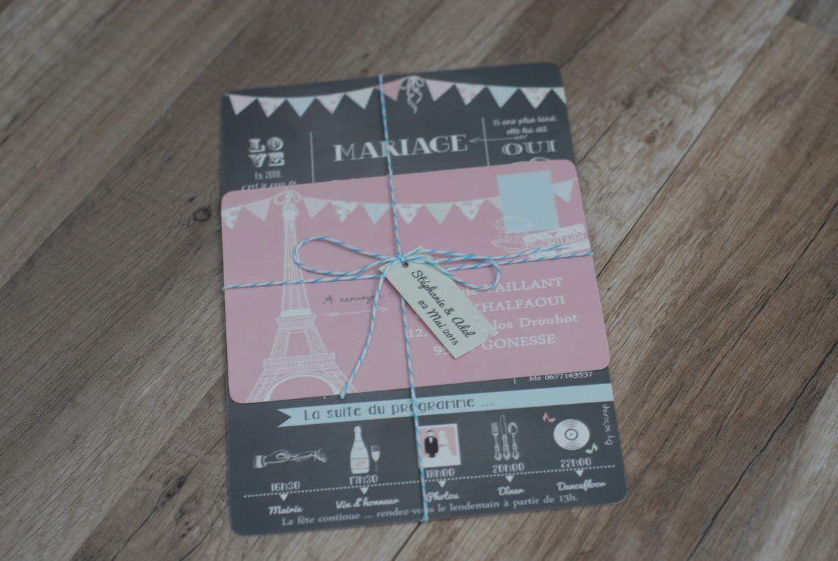 photo faire part mariage vue générale, 3 cartons avec étiquette et baker twine