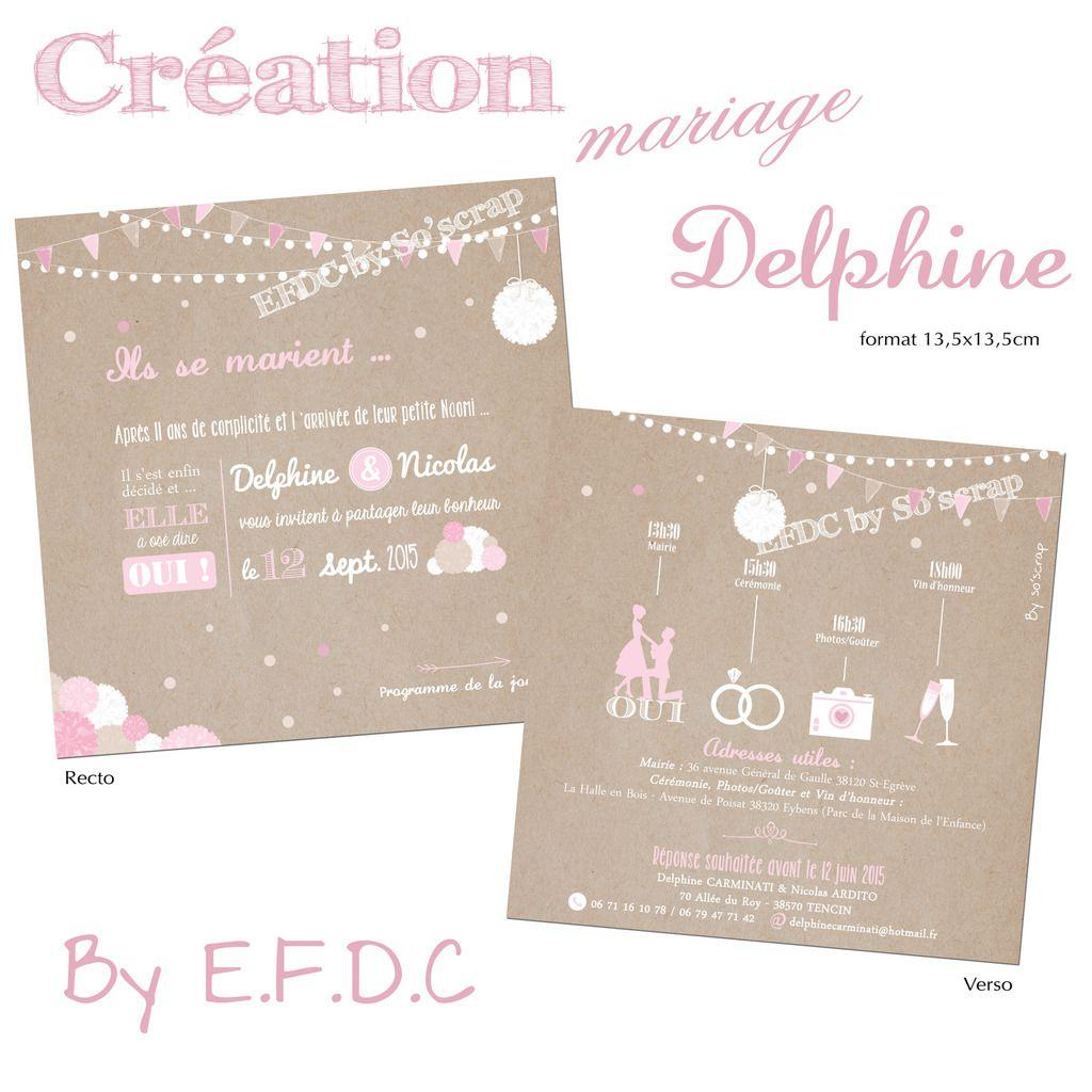 le blog d 39 efdc by so 39 scrap le faire part de mariage de delphine et nicolas romantique et. Black Bedroom Furniture Sets. Home Design Ideas