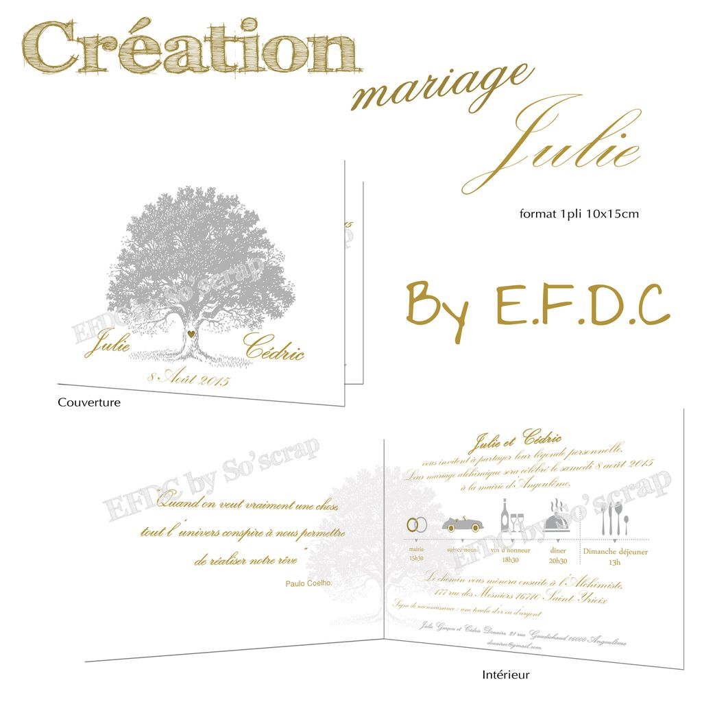 faire part mariage thème alchimie, arbre, impression or (teinte) et argent (teinte) sur papier irisé, 1 pli 10x15cm, scrapbooking digital