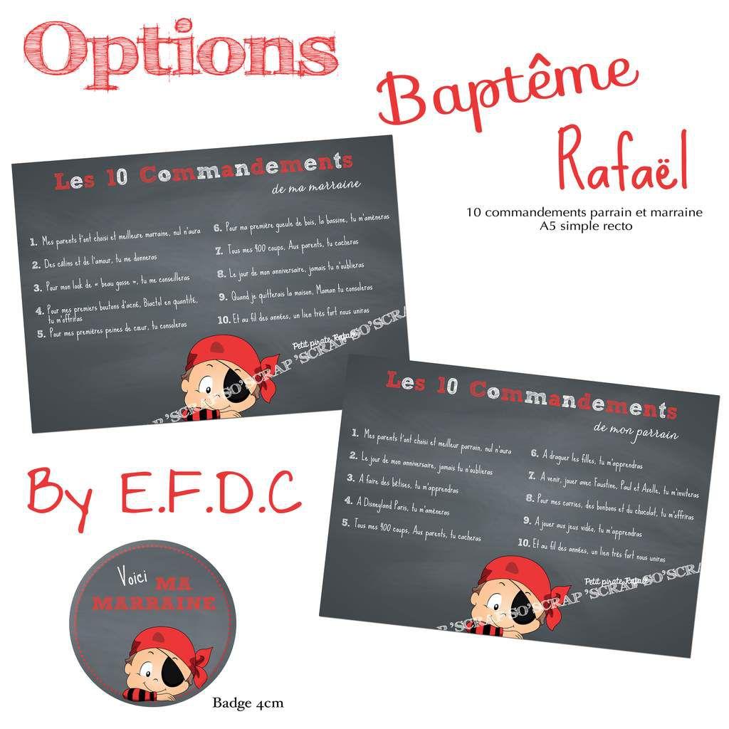 options baptême 10 commandements parrain et marraine simple recto A5 thème pirate assorti au faire part, scrapbooking digital