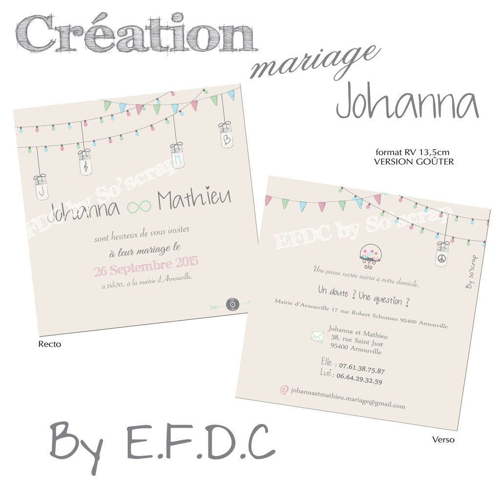 faire part mariage, version invitation goûter, scrapbooking digital