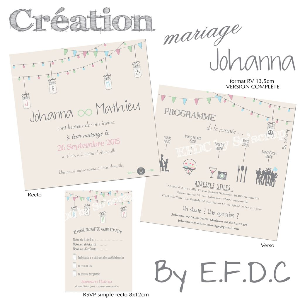 Favori Le Blog d'EFDC by So'scrap - Le faire part de mariage de Johanna  WF16