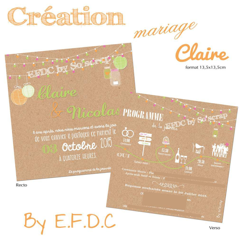 faire part mariage unique et sur mesure, couleur orange, rose fuchsia et vert anis, impression kraft, scrapbooking digital, boules chinoise suspendues