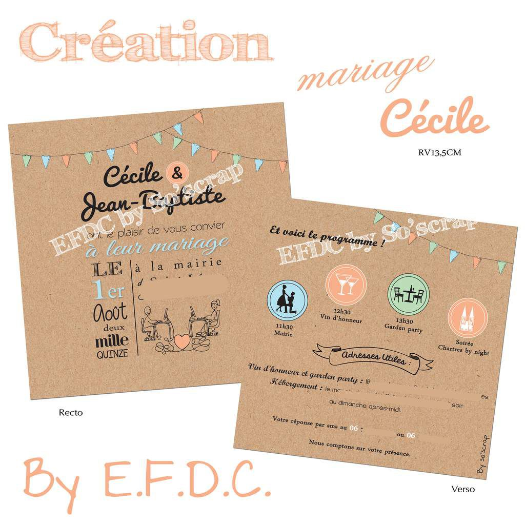 Souvent Le Blog d'EFDC by So'scrap - Le faire part de mariage de Cecile  QD83
