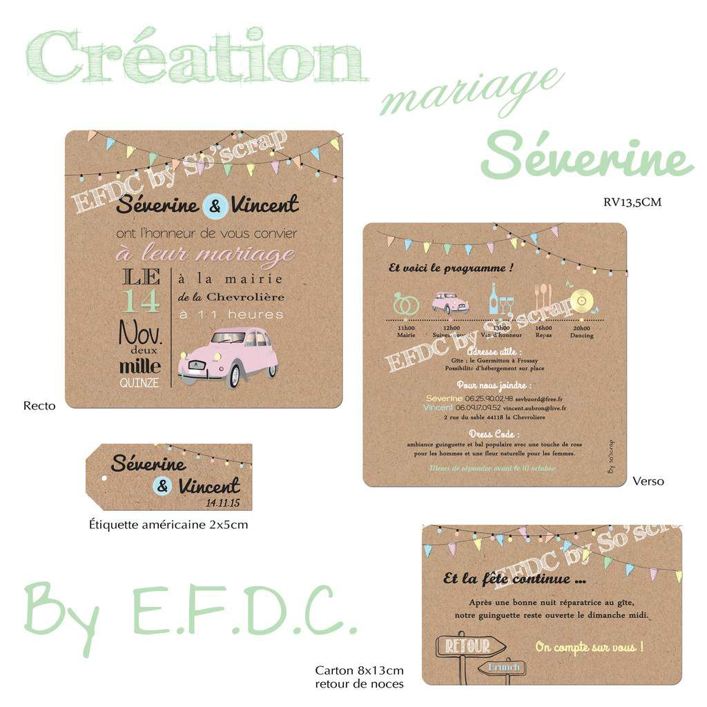 Exceptionnel Le Blog d'EFDC by So'scrap - Le faire part de mariage de Séverine  LP05