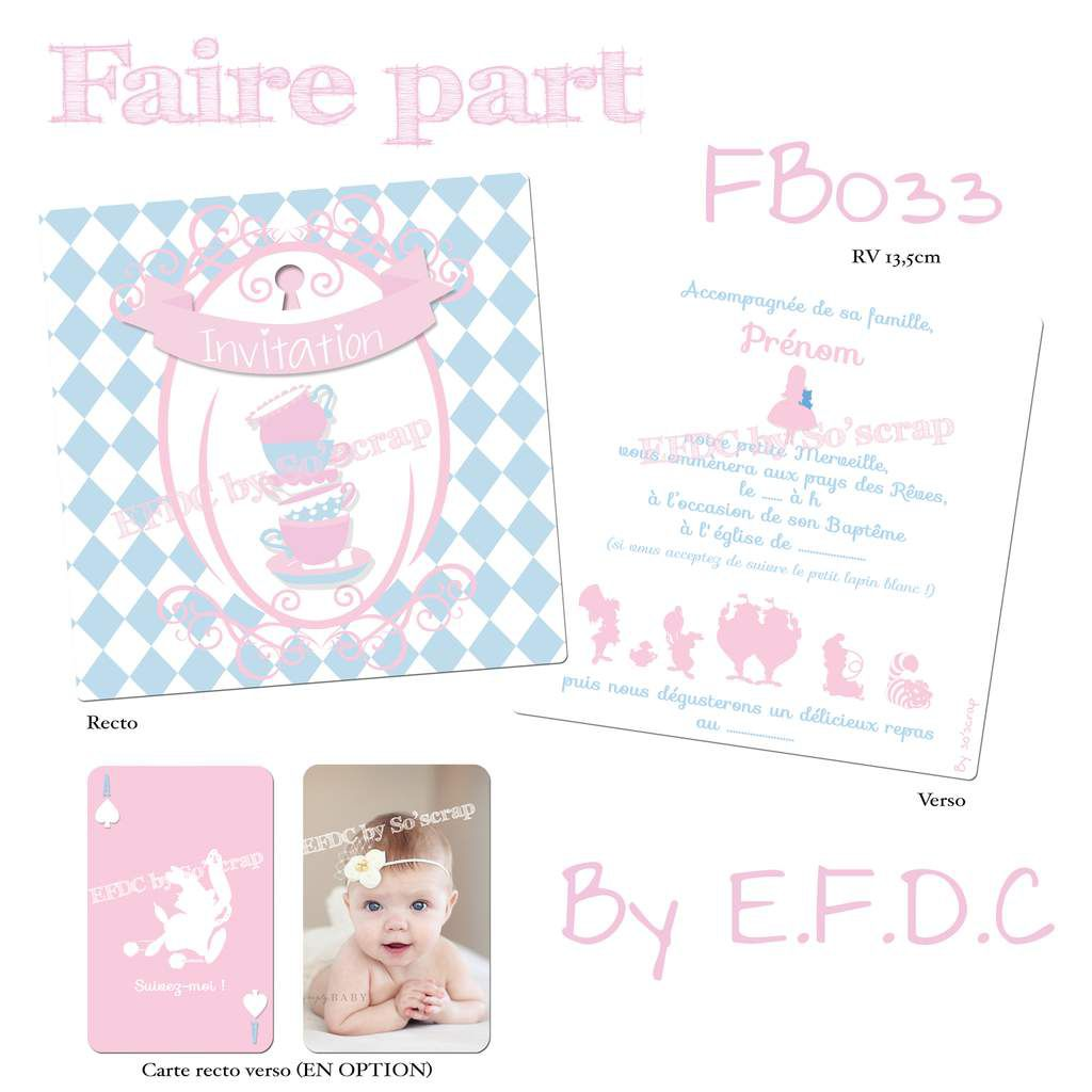faire part baptême thème Alice aux pays des merveilles, couleurs modifiables, scrapbooking digital, photo et texte personnalisable, personnage dessin animé