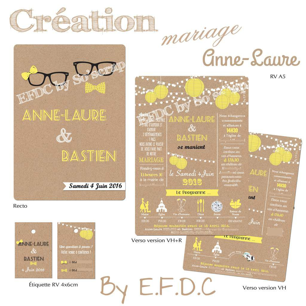 Bien-aimé Le Blog d'EFDC by So'scrap - Le faire part de mariage d'Anne-Laure  OA78