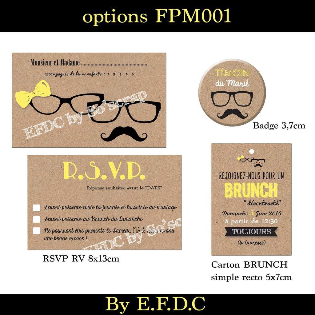 options faire part mariage, RSVP, carton brunch, thème lunettes homme et femme, moustache et noeud, jaune impression fond kraft, badge assorti témoin, scrapbooking digital