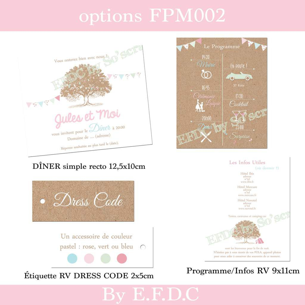 options faire part mariage sur mesure, original et à personnaliser, Carton programme et infos hôtels, impression kraft, scrapbooking digital, étiquette recto/verso dress code, invitation dîner
