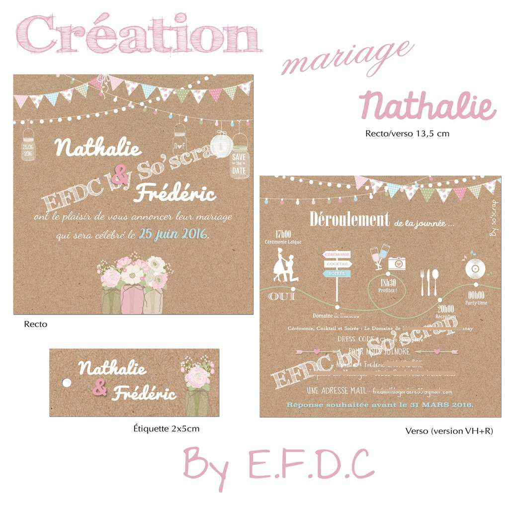 Favori Le Blog d'EFDC by So'scrap - Le faire part de mariage de Nathalie  WF16