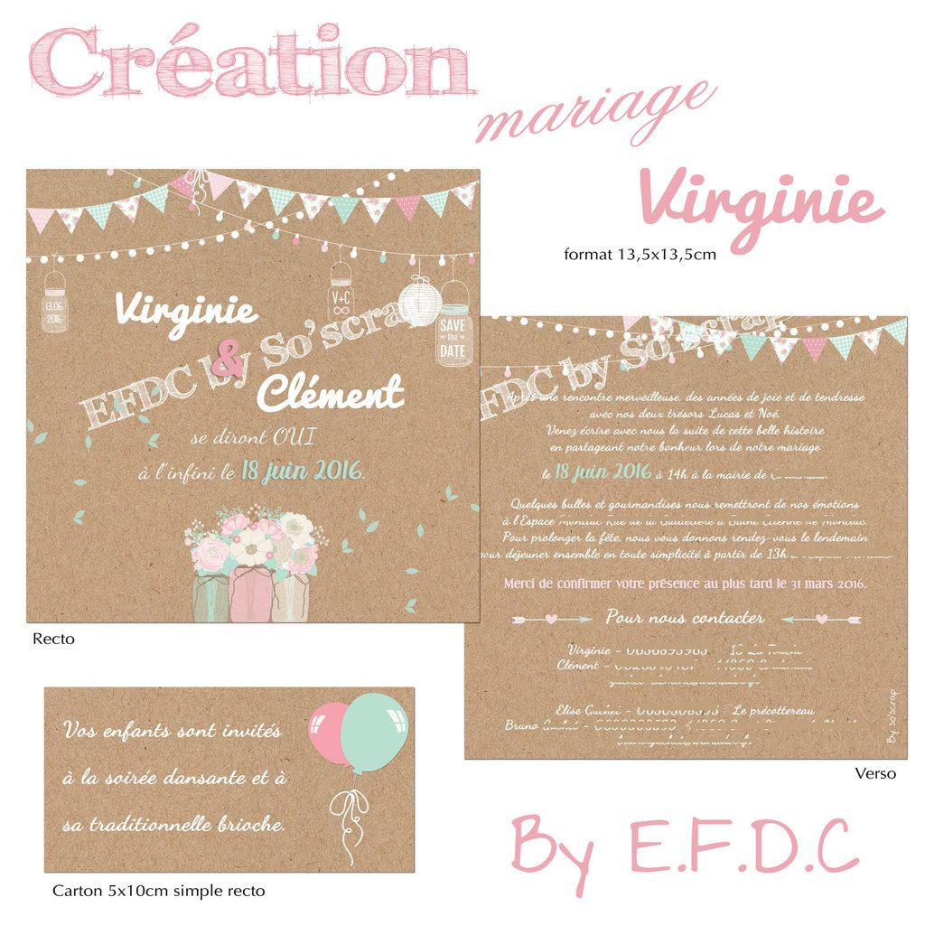 le blog d 39 efdc by so 39 scrap le faire part de mariage de virginie champ tre et floral. Black Bedroom Furniture Sets. Home Design Ideas