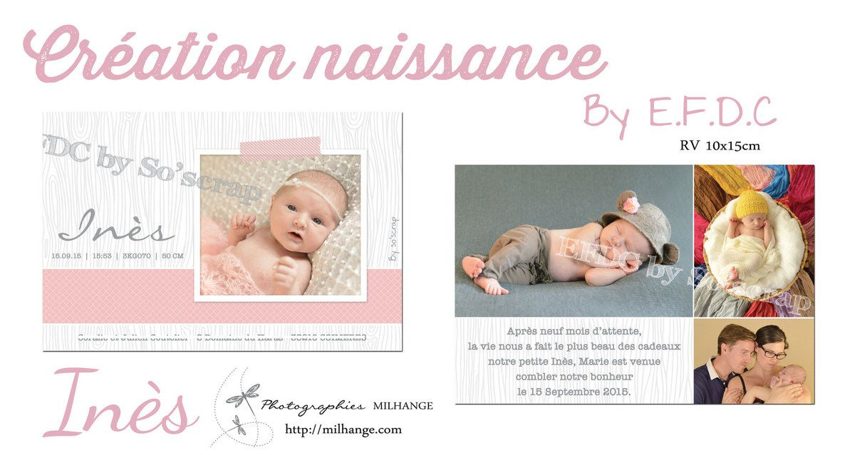 faire part naissance, recto/verso, scrapbooking digital, 10x15cm multi photo, texte à personnaliser, photographie MILHANGE
