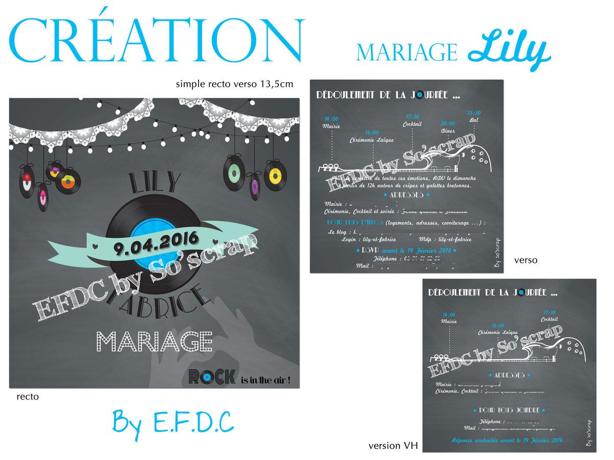 Souvent Le Blog d'EFDC by So'scrap - Le faire part de mariage de Lily  NV81