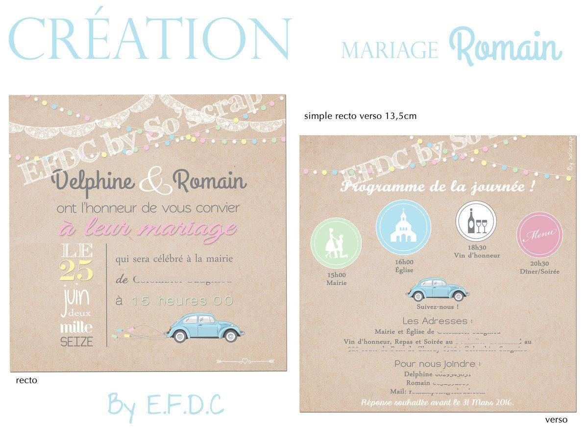 Populaire Le Blog d'EFDC by So'scrap - Le faire part de mariage de Romain et  WV27